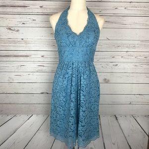 David's Bridal Lake Blue Lace V-neck Halter Dress